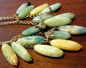 Spirit of the Saints Necklace - Amazonite ovals in blue, gray, yellow and cream a stunning, powerful necklace