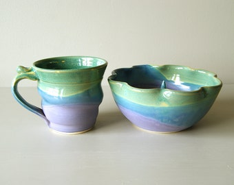 MADE TO ORDER...Pottery Coffee Mug / Handmade Wheel Thrown Pottery Ceramic Clay / Lavender Blue and Green