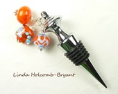 Orange & Turquoise Lampwork Glass Bead Wine Bottle Stopper