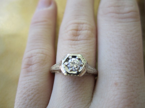 Vintage diamond and 14kt white gold wedding band engagement ring