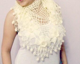Cream Wedding shawl-Bridal shawl-Flower Mohair Triangle Shawl