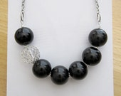 Black Beaded Necklace with Wire Wrapped Accent