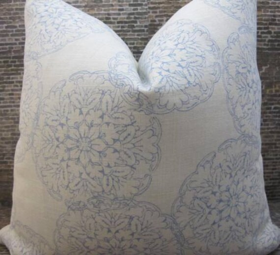 Designer Pillow Cover -  Lumbar, 16 x 16, 18 x 18, 20 x 20 - Danda Medallion Block Print Light Blue