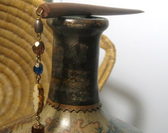 Hair Stick With Czech Glass Beads in cobalt blue, tan, and red