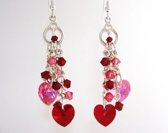 Red and Pink Double Heart Earrings, Swarovski Crystal Heart Dangle Earrings, Sweetheart Jewelry, Valentine Jewelry Gift for Her, Wedding