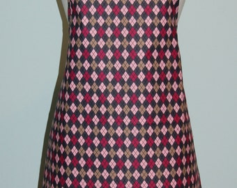 Pink, Brown and Grey Argyle Print Apron