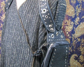 Large Shoulder Holster Purse in Black Buffalo and Metal