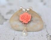 Coral Orange Rose and White Swarovski Pearl Teardrop Necklace, Bridal Necklace, Wedding Bridesmaids Jewelry