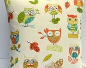 Ollie Owl Green pillow cushion Cover, fabric slip cover, throw pillow