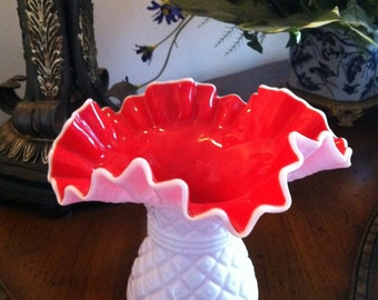 Kanawha Milk Glass Vase with Red Interior