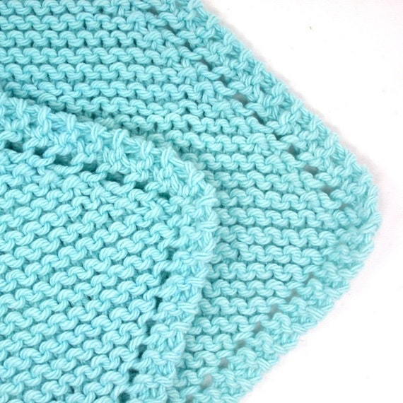 Cotton Dishcloths Knitting Patterns : Two Cotton Knitted Dishcloths Aqua Shabby by EweniqueEssentials