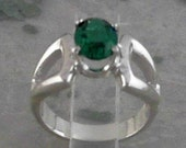 Emerald Faceted Oval 8x6mm 925 Sterling Silver Ring              CC-07040