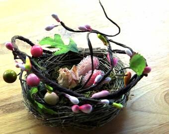 Spring nest for wedding ring bearer, ring pillow alternative or wedding favor,  Easter decor, vines, flowers and eggs