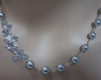 Gray Swarovski Pearl and Flower Bridal Bridesmaids Necklace, The Denise