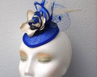 CECILIA- Blue and Ivory Fascinator