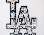LA sign made from expired California license plates