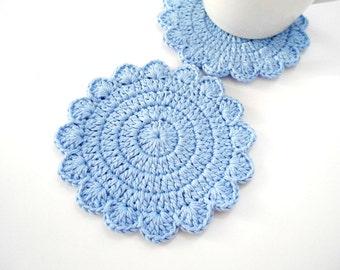 2 Crochet Coasters, Pastel Pale Blue, Circle Pad Flower Petals, Soft Cotton yarn, set of 2