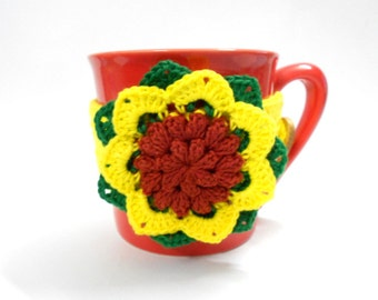 Crochet Sunflower Cup cozy Yellow green brown 100% cotton yarn, 10 x 1.5 inches, wooden button
