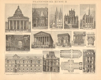 1904 French Architecture Original Antique Engraving to Frame