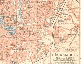 1903 Original Antique City Map of Düsseldorf, German Empire