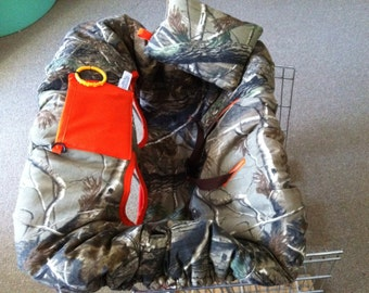Realtree Fabric with Orange Solid Color Shopping Cart Cover and Pillow