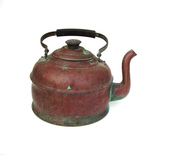 Vintage Copper Kettle Rustic Revere Mirro Antique Tea Pot