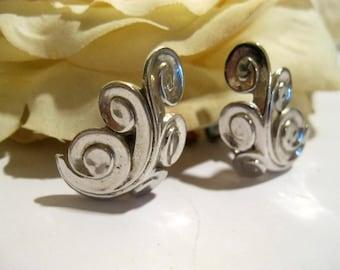 Vintage Crown Trifari Silver Swirled Earrings