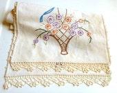 1960s Floral Embroidered Table Runner