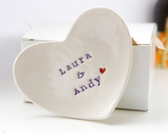 Personalised Wedding Ring Dish custom porcelain heart wedding ring bearer bowl