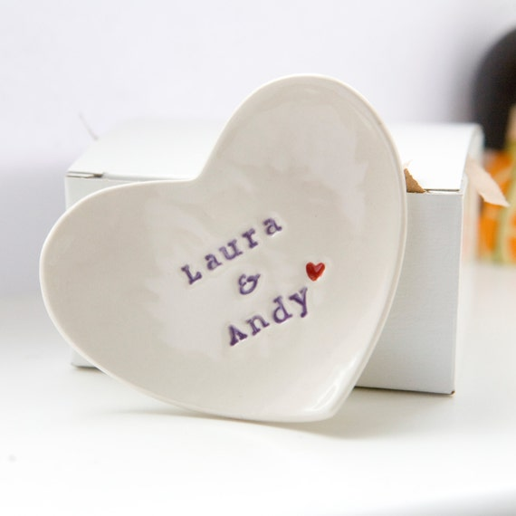 Personalised Wedding Gift Etsy : Personalized Wedding Gift Ring Dish custom porcelain heart wedding ...