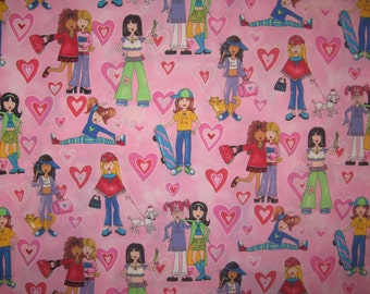 "Groovy hip girls and hearts on pink 44"" X 42"" Timeless Treasures"