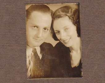 Photo Booth Lovers- 1920s Antique Photograph- Couple in Sepia- Old Photo- Small Portrait- Paper Ephemera