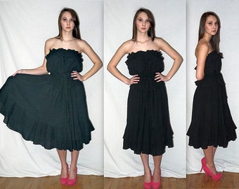 Border run .. vintage 70s strapless dress / 1970s black gauze ruffled / Boho Bohemian gypsy / disco American Hustle full skirt  .. S M