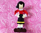 Olive Oyl (Oil) from Popeye ribbon sculpture hair clip