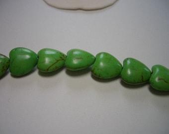 Sale, heart beads, 12mm, green,  Magnesite beads, gemstone hearts, 12mm gemstone beads, Magnesite hearts, spring green, heart beads, beads