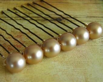 6 Vintage Gold 10mm Swarovski Crystal Pearl Hair Pins