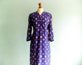 Vintage silk tunic dress / bright violet / multicolor geometric print / hippie boho summer dress / long sleeves / long / medium