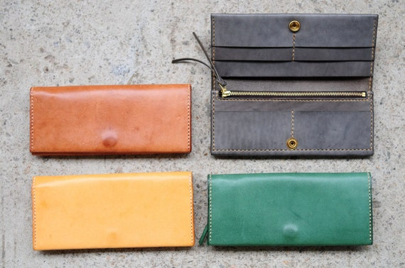 Hand Stitched Leather Long Wallet