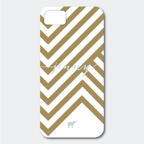 Personalized iPhone, Samsung Galaxy, or Blackberry Case - Jenny Collection - Chevron Inspired shown in Gold and Pool