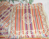 Vintage hand woven samplers 3 sizes hand woven reversible napkins table decor
