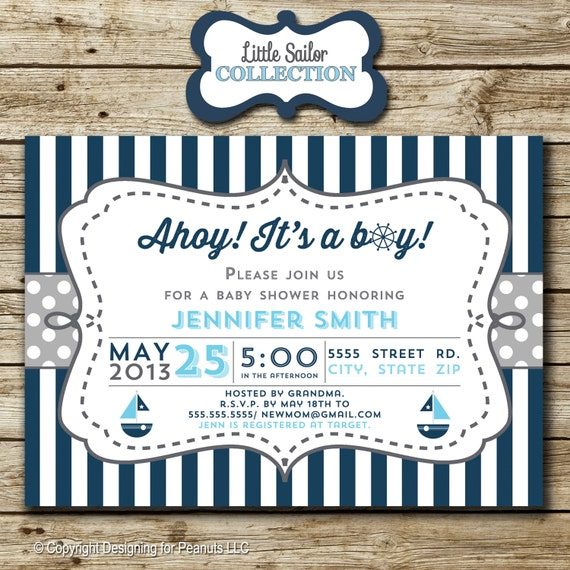 Sailboat Baby Shower Invitation, nautical, sailor, blue, invite, stripes, chevron, navy, digital, printable