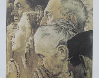 Norman Rockwell Favorite Poster, Vintage Poster Art, Freedom of Worship, Antique Art, Printed in 1977