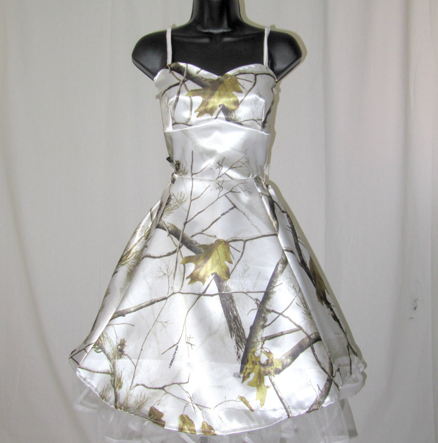 White With Camo Wedding Dresses : Snow white camo wedding dress satin camouflage by