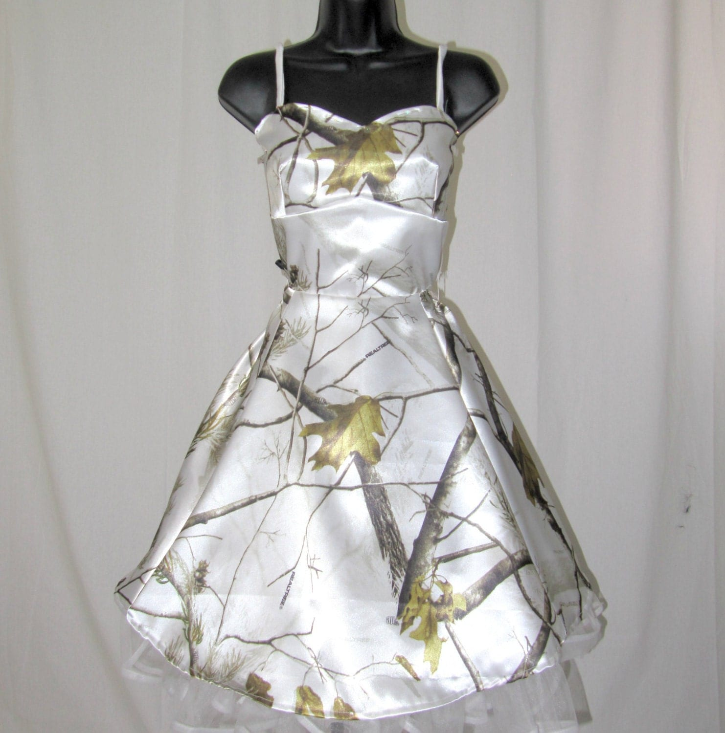 Satin camouflage dress by ravenbombshell on etsy for Snow camo wedding dresses
