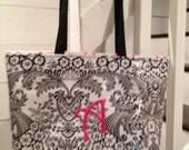 Personalized Tote Bag/ Medium Tote Bag/ Waterproof Tote Bag/Tote Bag Personalized/Oilcloth Tote Bag/ Monogrammed Beach Bag/ Monogrammed Tote