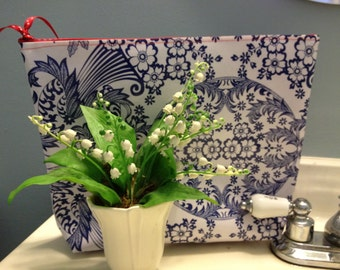 Large Oilcloth Waterproof Cosmetic Bag or Wet Bag in Blue Toile with Red Gingham Interior