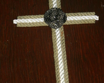 Cross Made from Recycling Rope Made in USA White Natural with Blue Carrick Bend Knot