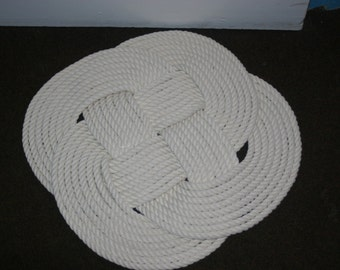 """21"""" Round Pure Cotton Rope Rug Bathmat Soft Tightly Knotted Rug Bath Mat Celtic Knot"""