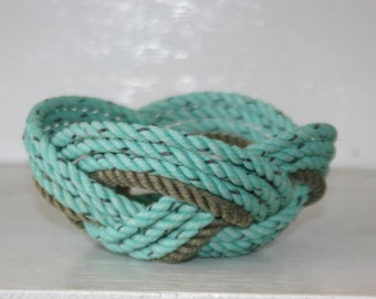 """Rope Basket  6"""" x 3"""" Nautical Nesting Bowl Nautical Decor Green & Tan Knotted Woven"""