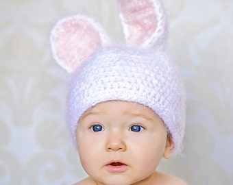 Fuzzy furry crochet bunny hat - Easter bunny - RTS - white pink 12 - 18 months